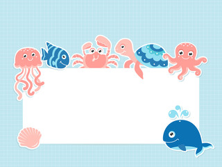 Greeting card template with cute sea animals and text space