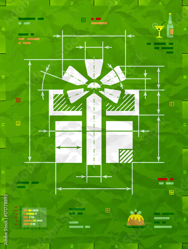 Gift symbol as technical blueprint drawing drafting of gift box gift symbol as technical blueprint drawing drafting of gift box on crumpled paper best malvernweather Image collections