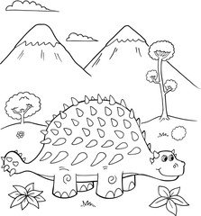 Garden Poster Cartoon draw Cute Ankylosaurus Dinosaur Vector Illustration Art