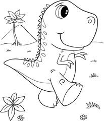Canvas Prints Cartoon draw Cute Tyrannosaurus rex Dinosaur Vector Illustration Art