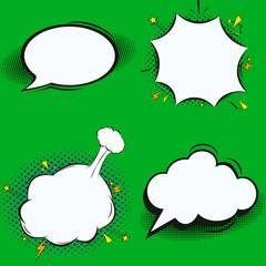 Fototapete - . Colorful background with speech bubbles, balloons, sound, radial, dotted and halftone effects