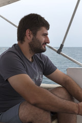 Young Man Yacht Adventure Sea