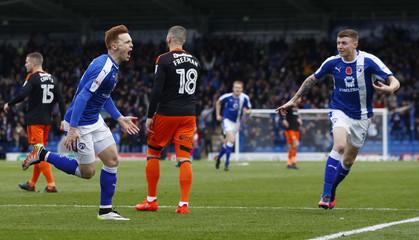 Jon Nolan of Chesterfield Town celebrates scoring his sides first goal