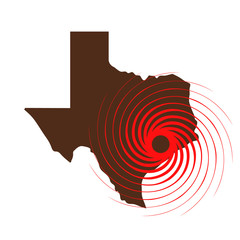 Hurricane Over Texas. Vector Illustration