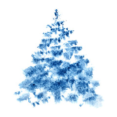 Blue watercolor Christmas tree