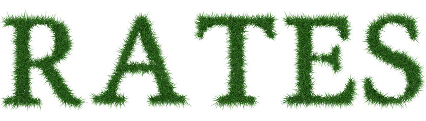 Rates - 3D rendering fresh Grass letters isolated on whhite background.