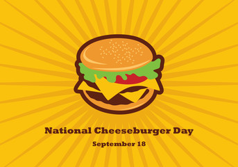 National Cheeseburger Day vector. Burger cartoon. Cheeseburger vector. Important day