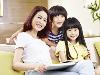 portrait of asian mother and children