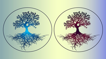 Two gradient sticker - the tree of life. Beautiful, detailed sketch with author's gradient