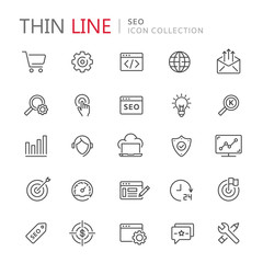 Collection of seo thin line icons.