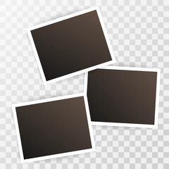 Three photorealistic blank retro photo frames over transparent background. Polaroid Vector illustration