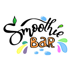 Smoothie bar. Hand lettering with decorative elements. Calligraphy for logo, posters, menu, cards..
