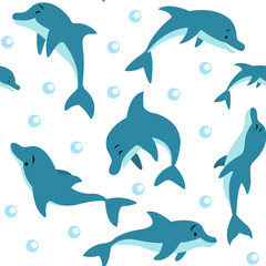 Seamless pattern with floating and dolphins playing in the water, air bubbles on a white background