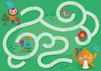 Gnome Maze Game for Children (Vector illustration)
