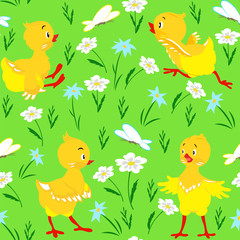 Seamless pattern with chickens, meadow flowers and butterflies on a green background, grass pattern.