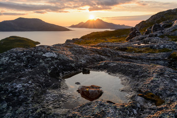 Beautiful sunset at the coast of Norway