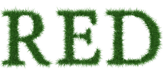 Red - 3D rendering fresh Grass letters isolated on whhite background.
