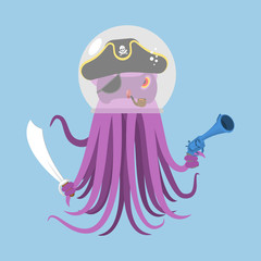 Alien intruders Space pirate Octopus. cosmic monster Invader. poulpe in astronaut  helmet. devilfish  in pirate hat. Saber and gun. Vector illustration
