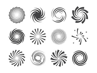Spiral and swirl motion twisting circles design element set