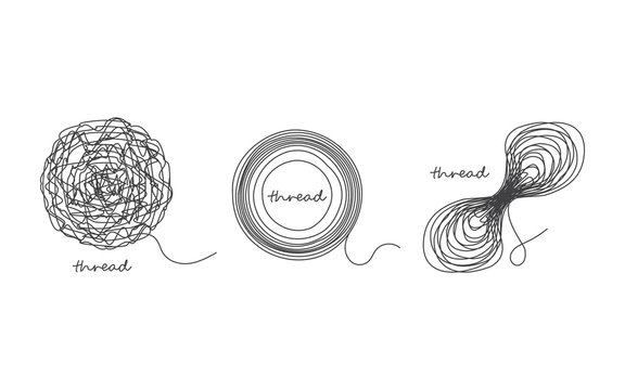 Thread ball and ravel icon set isolated on white