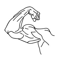 Strong power, muscle arms vector icon. Muscular hand symbol for fitness club emblem, illustration of strength human hand