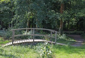 Kleine Brücke aus Holz über einen kleinen Bach im Wald