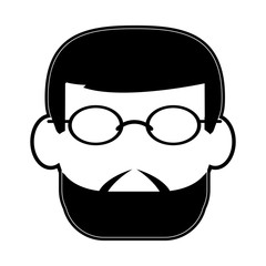 bearded man wearing glasses avatar icon image vector illustration design  black and white