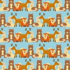 forest animals wildlife natural seamless pattern vector illustration