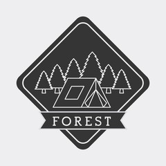 forest camp tent mountain pine tree natural stamp vector illustration