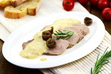 Photo on textile frame Appetizer Vitello tonnato