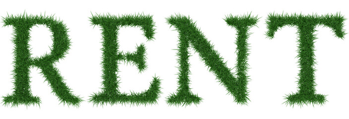 Rent - 3D rendering fresh Grass letters isolated on whhite background.