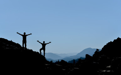 successful climbers silhouette