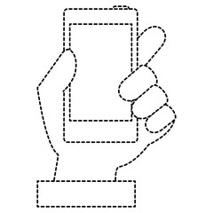 hand human with smartphone device isolated icon