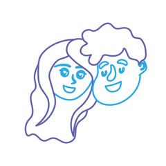 line happy couple face with hairstyle design vector illustration