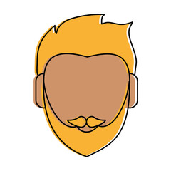 bearded blonde man avatar head icon image vector illustration design