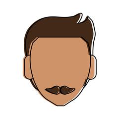 man tan skin mustache avatar head icon image vector illustration design