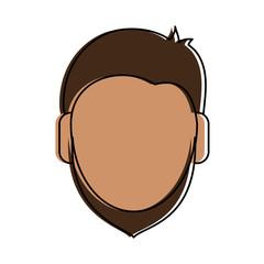 man tan skin beard avatar head icon image vector illustration design