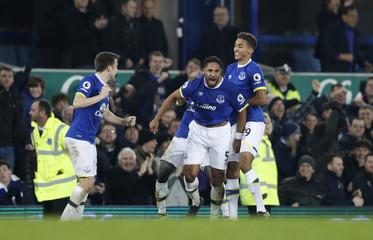 Everton's Ashley Williams celebrates scoring their second goal with team mates