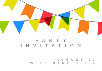 Birthday Party Invitation with Flag Banners Layout 1