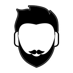 bearded man avatar head icon image vector illustration design