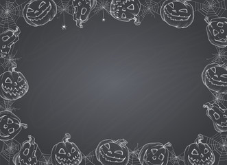 Halloween Poster. Vector illustration of Halloween Background with pumpkins and web on blackboard.