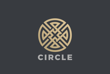 Wall Mural - Luxury Circle Maze Cross Logo vector. Labyrinth Linear style