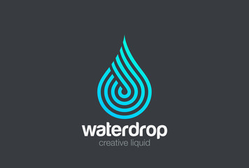 Water drop Logo vector Linear. Blue Droplet lines aqua icon