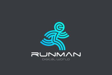 Wall Mural - Running Man Sport Fitness Delivery Logo design vector Linear