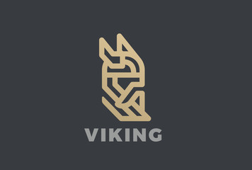 Viking Odin Head Helmet Beard Logo vector Linear vintage icon