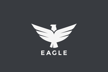 Eagle flying soaring Logo vector. Bird Falcon Hawk Heraldic