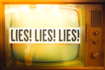 lies of mainstream media propaganda disinformation old tv label vintage
