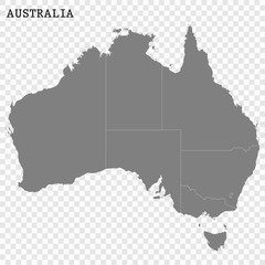 High quality map of Australia with borders of the regions or counties