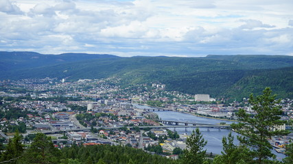View of Drammen from the mountain , Norway. Fototapete