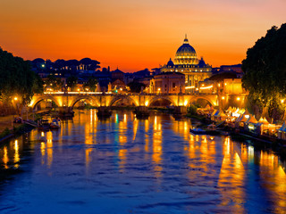 Poster de jardin Rome Rome twilight view of St. Peter dome, Tiber river and St. Angel bridge
